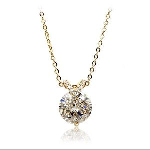 Fashion gold mini X front crystal necklace